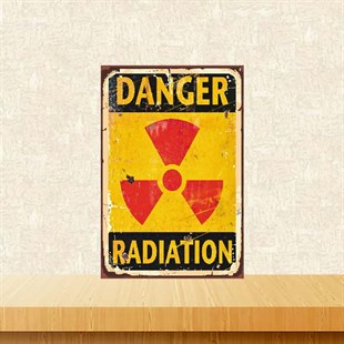 Danger Radiation 20-30 cm Retro Ahşap Poster