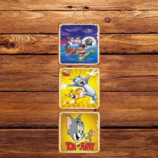 Tom And Jerry Üçlü Retro Ahşap Poster